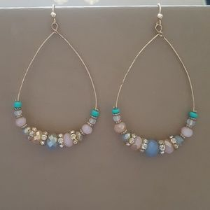 Jewelry - Pair of hoop earrings with crystals and beads